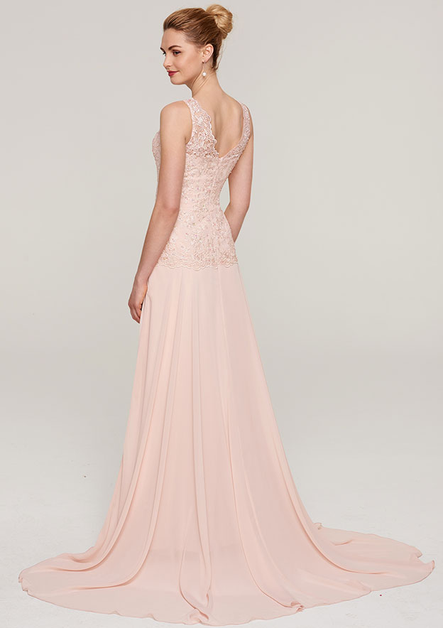 A-Line/Princess Scoop Neck Sleeveless Court Train Chiffon Mother Of The Bride Dress With Lace Beading