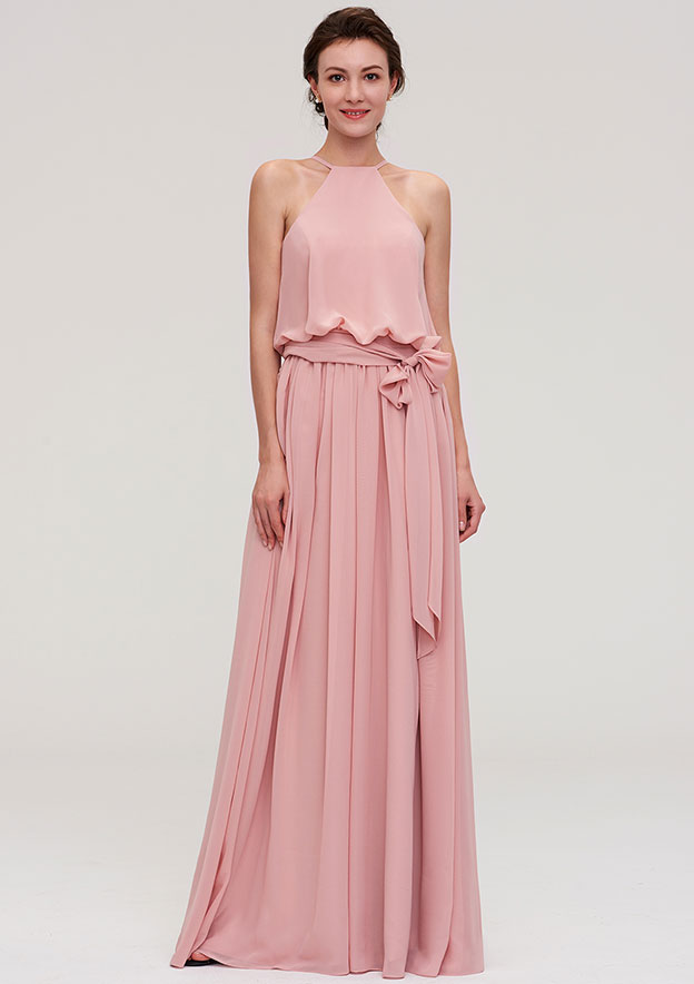A-Line/Princess Scoop Neck Sleeveless Long/Floor-Length Chiffon Bridesmaid Dress With Pleated Sashes