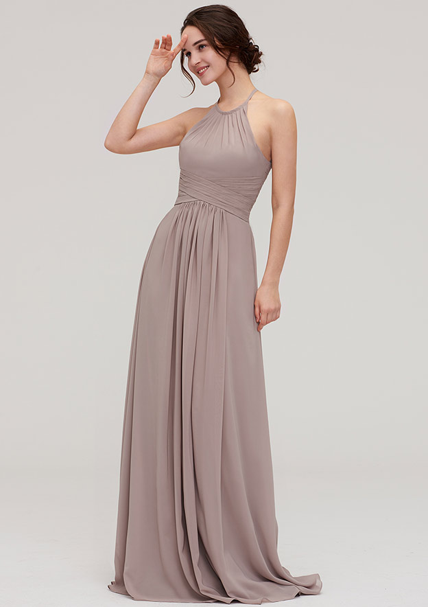 A-Line/Princess Scoop Neck Sleeveless Long/Floor-Length Chiffon Bridesmaid Dress With Pleated