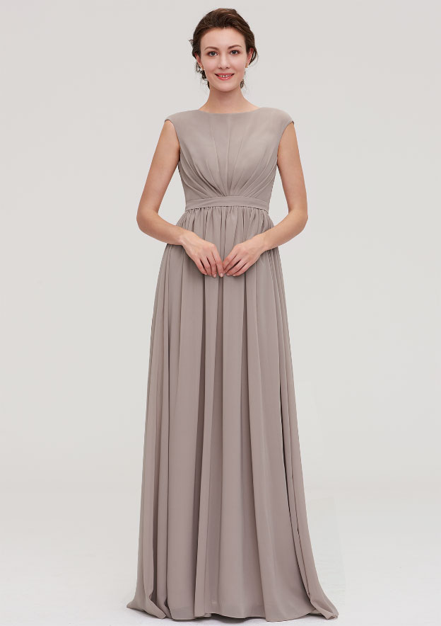 A-Line/Princess Bateau Sleeveless Long/Floor-Length Chiffon Bridesmaid Dress With Pleated
