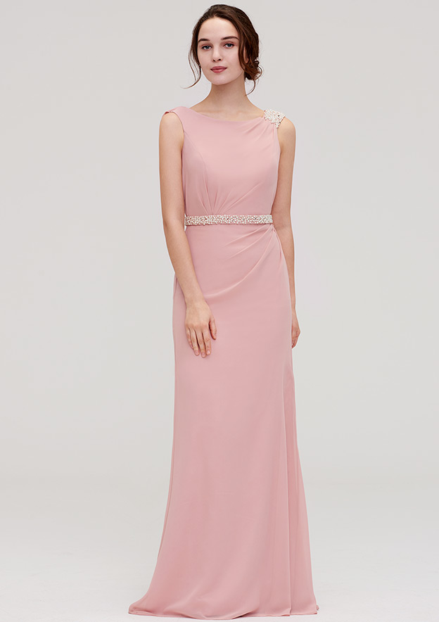Sheath/Column Bateau Sleeveless Long/Floor-Length Chiffon Bridesmaid Dress With Waistband Beading