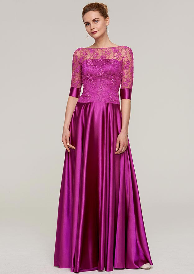 Sheath/Column Bateau Half Sleeve Long/Floor-Length Charmeuse Mother Of The Bride Dress With Lace