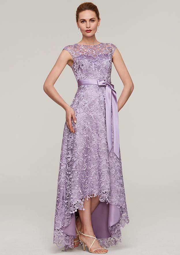 A-Line/Princess Bateau Sleeveless Asymmetrical Lace Mother Of The Bride Dress With Sashes