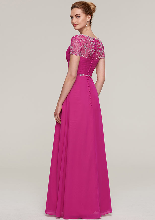 Sheath/Column V Neck Short Sleeve Long/Floor-Length Chiffon Mother Of The Bride Dress With Waistband Beading
