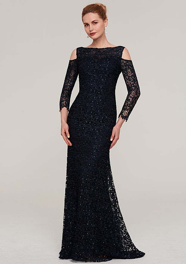 Sheath/Column Bateau 3/4 Sleeve Long/Floor-Length Lace Mother Of The Bride Dress With Beading