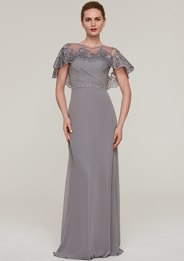 Sheath/Column Bateau Short Sleeve Long/Floor-Length Chiffon Mother Of The Bride Dress With Beading Appliqued