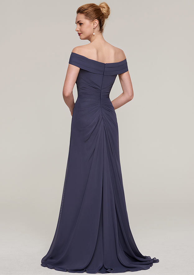 Sheath/Column Off-The-Shoulder Sleeveless Sweep Train Chiffon Mother Of The Bride Dress With Pleated Split