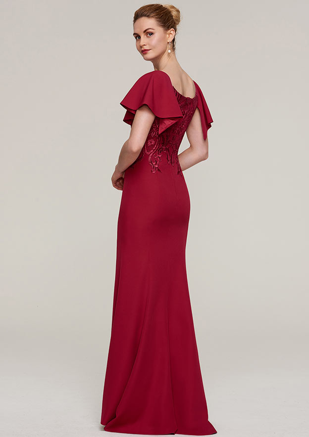 Sheath/Column Bateau Short Sleeve Long/Floor-Length Jersey Evening Dress With Split Appliqued