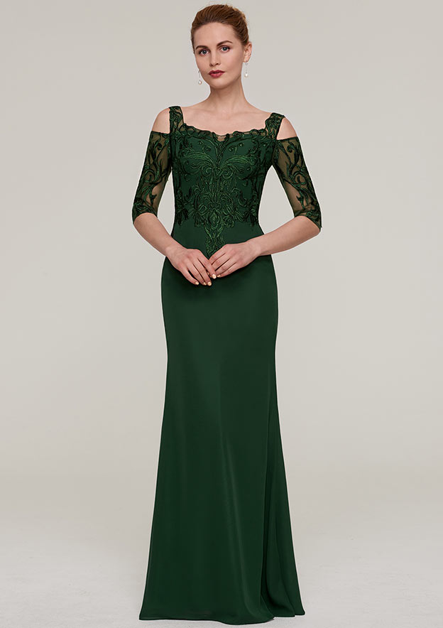 Sheath/Column Square Neckline Half Sleeve Long/Floor-Length Chiffon Evening Dress With Appliqued