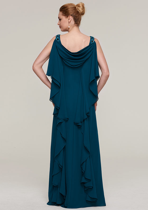 Sheath/Column Cowl Neck Sleeveless Long/Floor-Length Chiffon Evening Dress With Beading Ruffles
