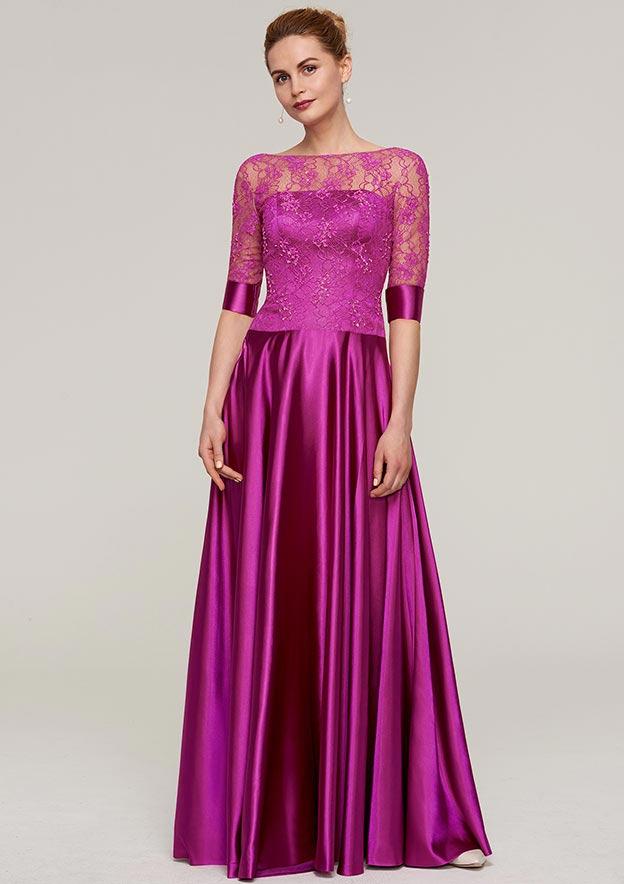 Sheath/Column Bateau Half Sleeve Long/Floor-Length Charmeuse Evening Dress With Lace