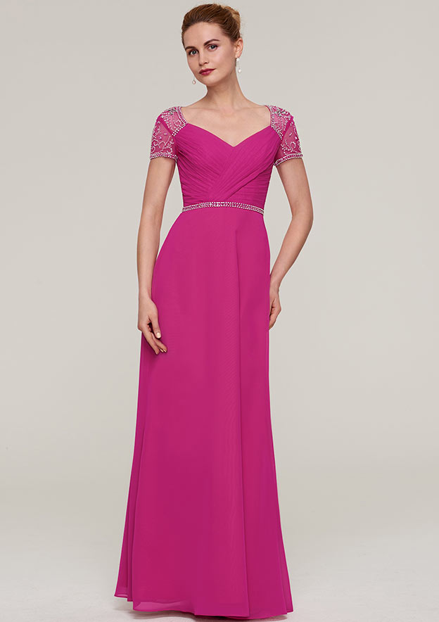 Sheath/Column V Neck Short Sleeve Long/Floor-Length Chiffon Evening Dress With Waistband Beading