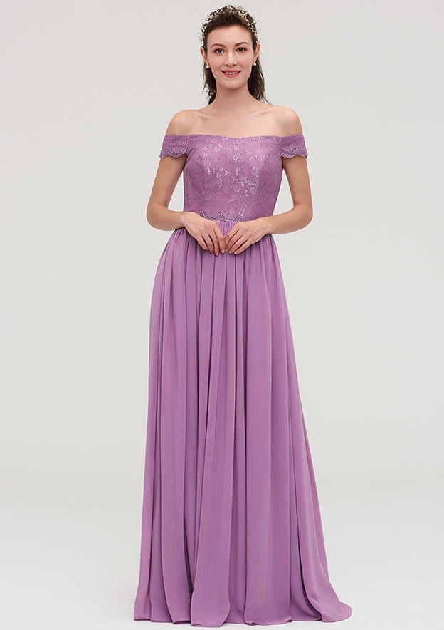A-Line/Princess Off-The-Shoulder Sleeveless Long/Floor-Length Chiffon Bridesmaid Dresses With Appliqued