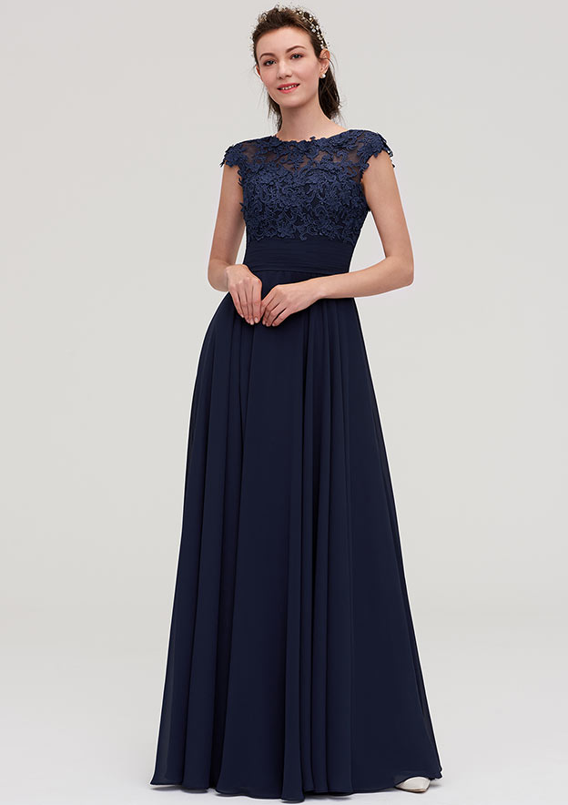 A-Line/Princess Bateau Sleeveless Long/Floor-Length Chiffon Bridesmaid Dresses With Appliqued