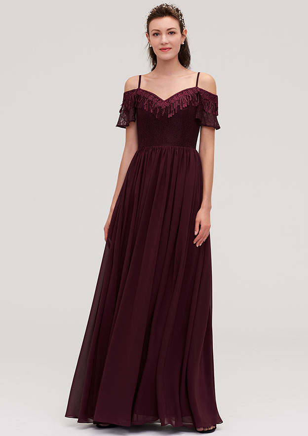 A-Line/Princess Off-The-Shoulder Sleeveless Long/Floor-Length Chiffon Bridesmaid Dresses With Lace