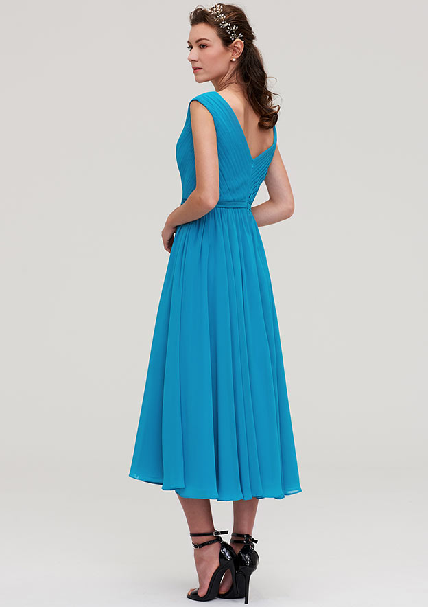 A-Line/Princess V Neck Sleeveless Tea-Length Chiffon Bridesmaid Dresses With Pleated
