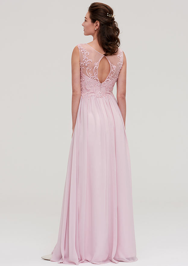 A-Line/Princess V Neck Sleeveless Long/Floor-Length Chiffon Bridesmaid Dresses With Beading Appliqued