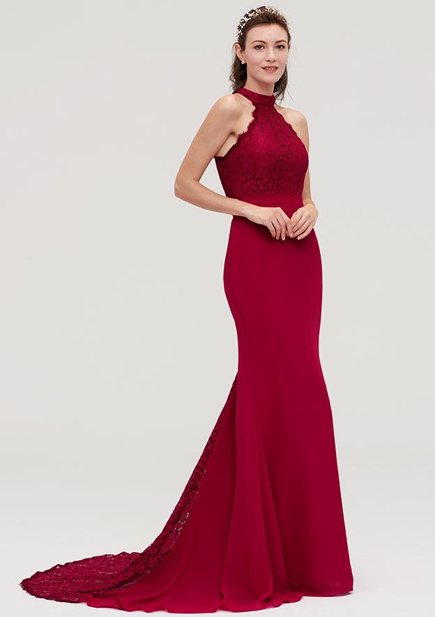 Trumpet/Mermaid Scoop Neck Sleeveless Court Train Chiffon Bridesmaid Dresses With Lace