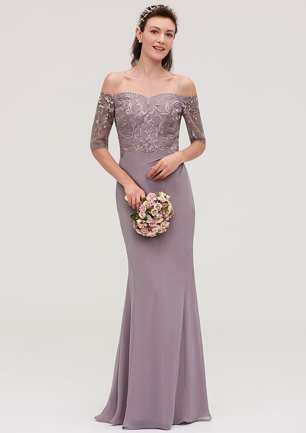 Sheath/Column Off-The-Shoulder Half Sleeve Long/Floor-Length Chiffon Bridesmaid Dresses With Appliqued