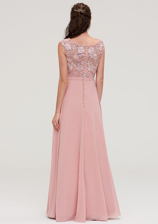 A-Line/Princess Bateau Sleeveless Long/Floor-Length Chiffon Bridesmaid Dresses With Sashes Appliqued