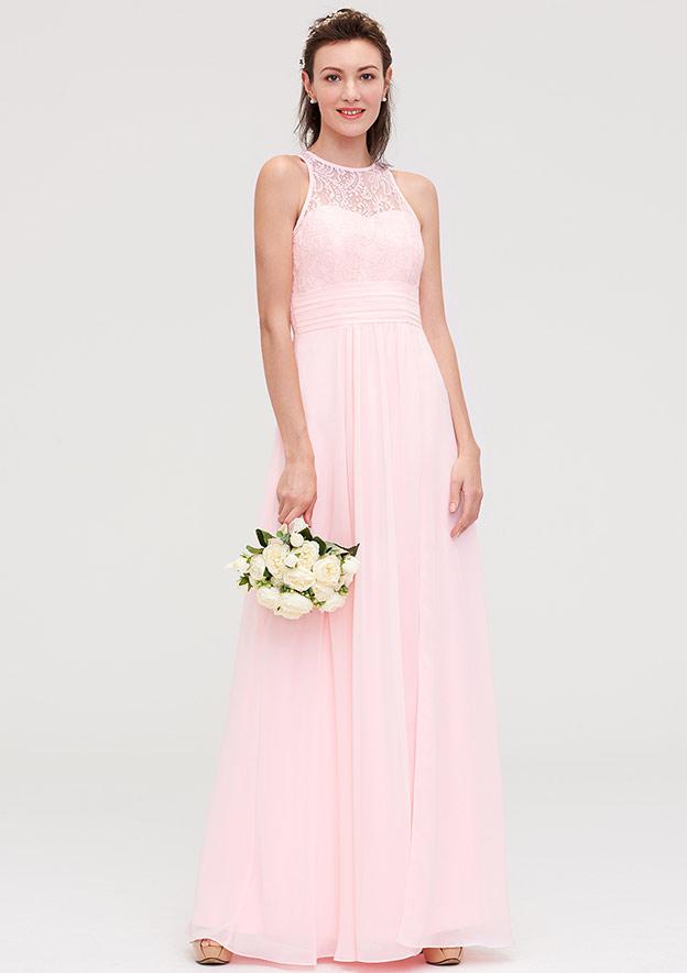 A-Line/Princess Scoop Neck Sleeveless Long/Floor-Length Chiffon Bridesmaid Dresses With Split Lace
