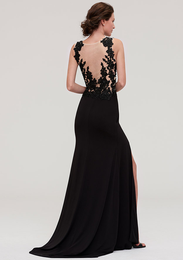 Sheath/Column Scoop Neck Sleeveless Long/Floor-Length Jersey Prom Dress With Split Appliqued Beading