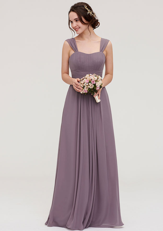 A-Line/Princess Square Neckline Sleeveless Long/Floor-Length Chiffon Bridesmaid Dresses With Pleated