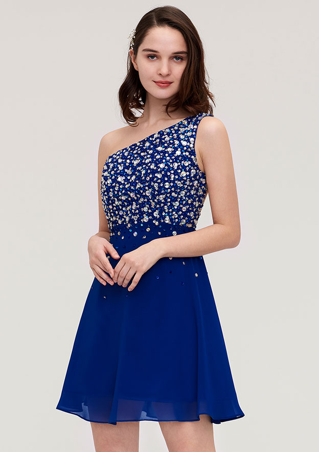 A-Line/Princess One-Shoulder Sleeveless Short/Mini Chiffon Homecoming Dress With Crystal