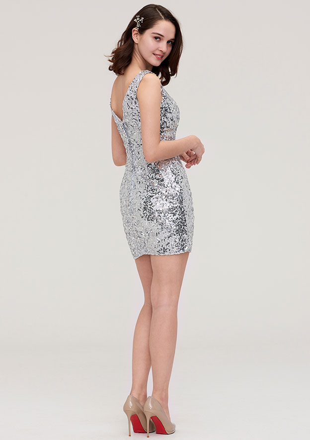 Sheath/Column V Neck Sleeveless Short/Mini Sequined Homecoming Dress