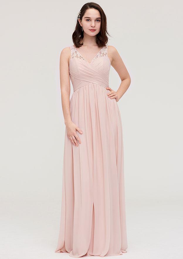 A-Line/Princess V Neck Sleeveless Long/Floor-Length Chiffon Bridesmaid Dress With Pleated Appliqued