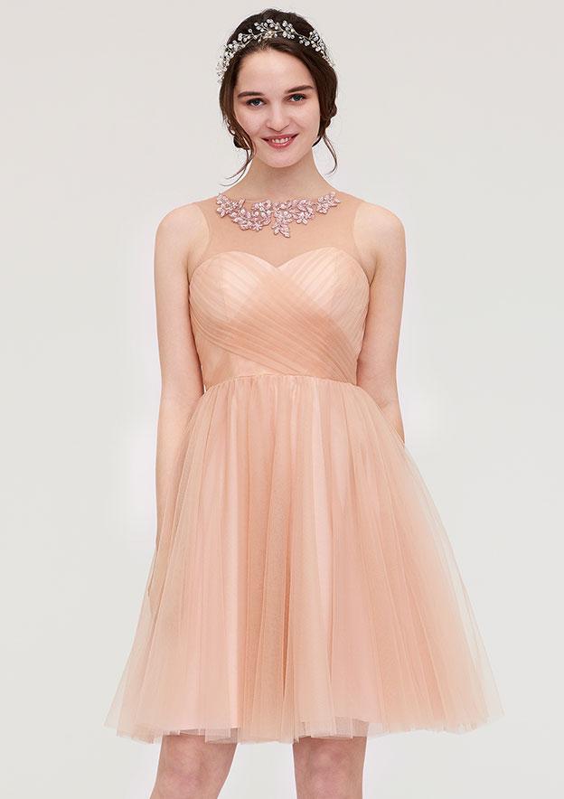 A-Line/Princess Bateau Sleeveless Knee-Length Tulle Bridesmaid Dress With Pleated Beading