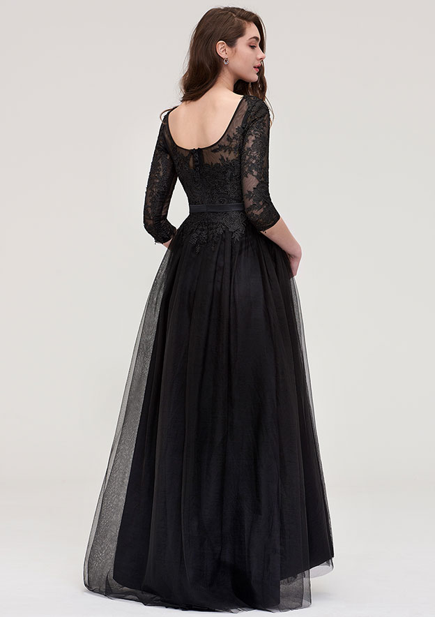 A-line/Princess Bateau 3/4 Sleeve Long/Floor-Length Tulle Prom Dress With Sashes Appliqued Lace