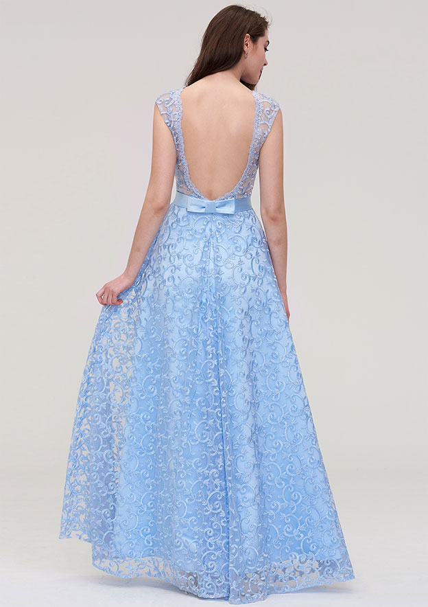 A-line/Princess Bateau Sleeveless Long/Floor-Length Lace Prom Dress With Waistband
