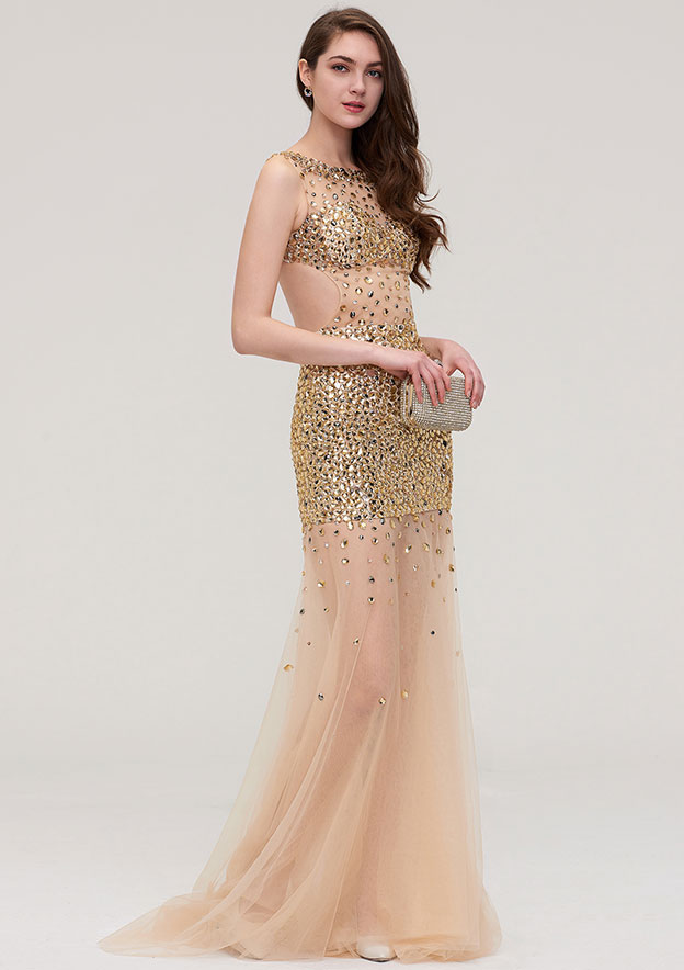 Sheath/Column Bateau Sleeveless Long/Floor-Length Organza Evening Dress With Beading