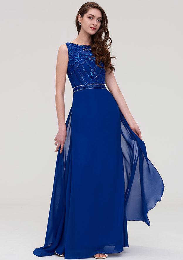 A-Line/Princess Bateau Sleeveless Long/Floor-Length Chiffon Prom Dress With Side Draping Beading Crystal Sequins