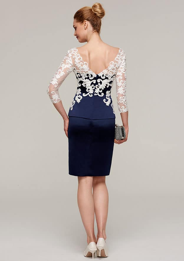 Sheath/Column V Neck 3/4 Sleeve Knee-Length Satin Mother Of The Bride Dress With Appliqued