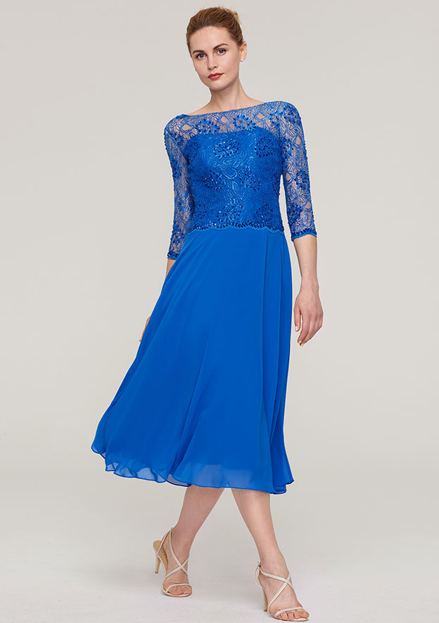 A-Line/Princess Bateau 3/4 Sleeve Tea-Length Chiffon Mother Of The Bride Dress With Beading Lace