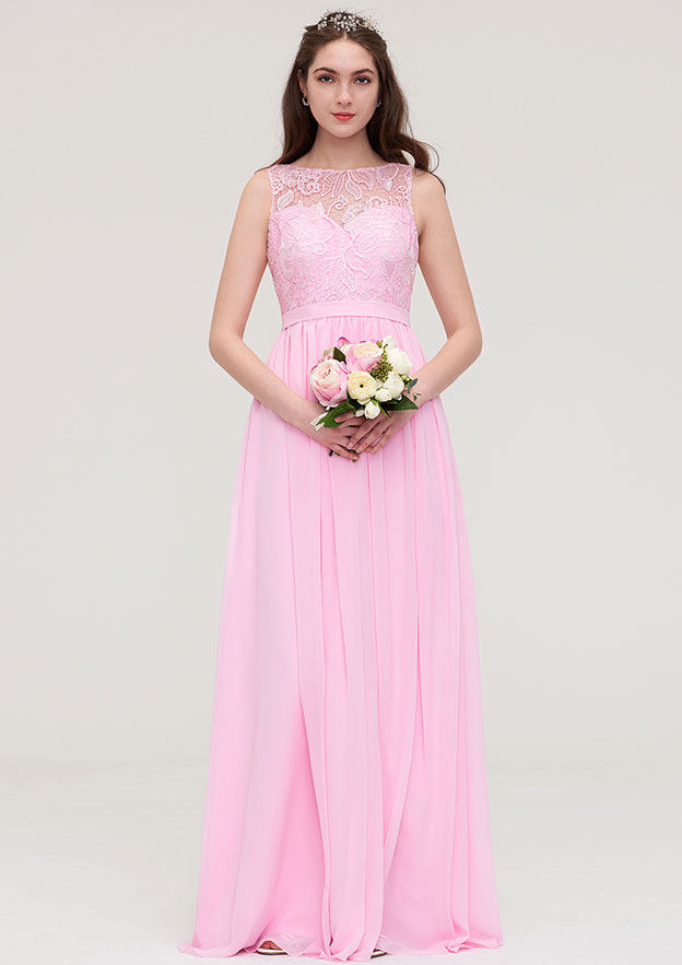 A-line/Princess Bateau Sleeveless Long/Floor-Length Chiffon Bridesmaid Dress With Lace