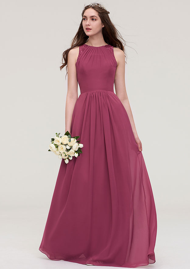 A-line/Princess Bateau Sleeveless Long/Floor-Length Chiffon Bridesmaid Dress With Lace Pleated