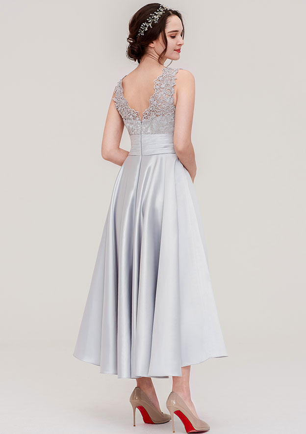 A-line/Princess V Neck Sleeveless Ankle-Length Satin Bridesmaid Dress With Pleated Lace
