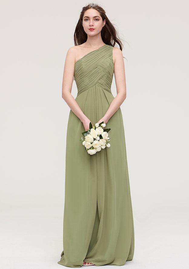 A-line/Princess One-Shoulder Sleeveless Long/Floor-Length Chiffon Bridesmaid Dress With Pleated