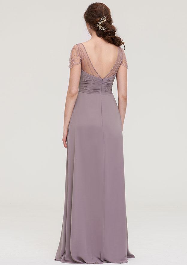 A-line/Princess Sweetheart Short Sleeve Long/Floor-Length Chiffon Bridesmaid Dress With Pleated Beading