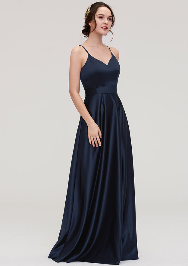 A-Line/Princess V Neck Sleeveless Long/Floor-Length Satin Bridesmaid Dresses