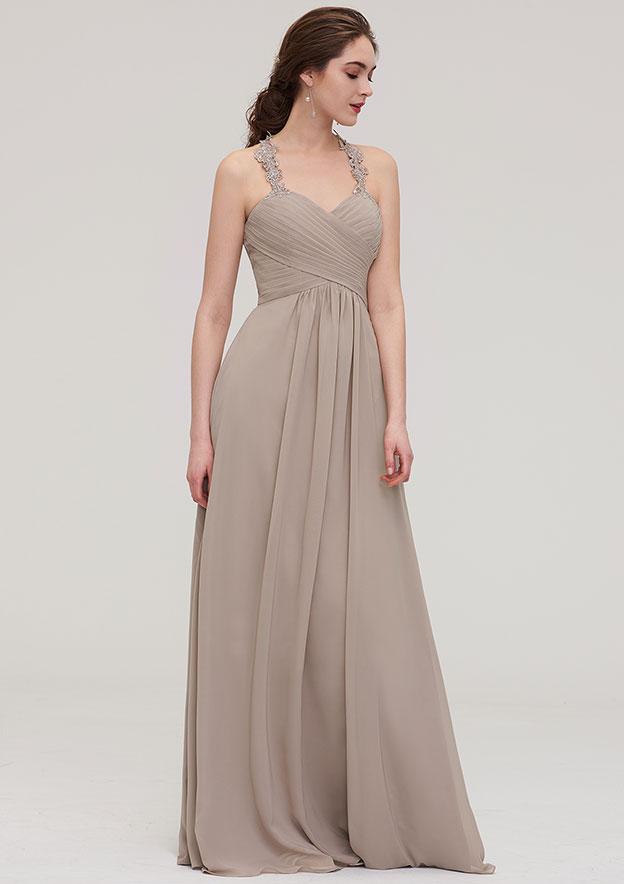 A-line/Princess Sweetheart Sleeveless Long/Floor-Length Chiffon Bridesmaid Dress With Pleated Lace