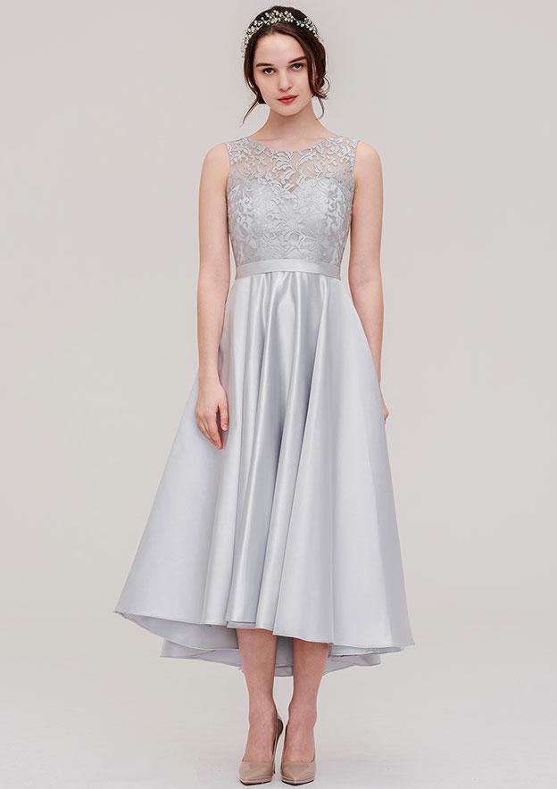 A-line/Princess Bateau Sleeveless Tea-Length Satin Bridesmaid Dress With Sashes Lace