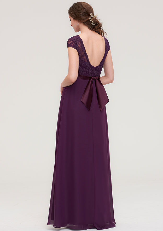 A-line/Princess Bateau Short Sleeve Long/Floor-Length Chiffon Bridesmaid Dress With Sashes Lace