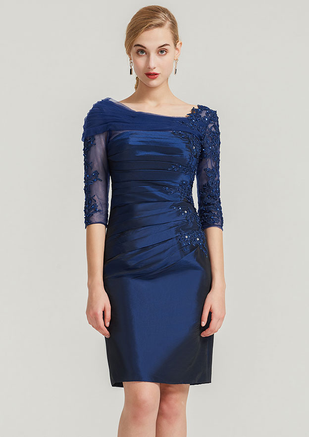 Sheath/Column Scalloped Neck Half Sleeve Knee-Length Taffeta Mother Of The Bride Dress With Pleated Appliqued Beading