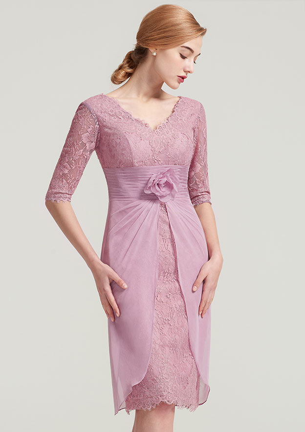 Sheath/Column V Neck Half Sleeve Knee-Length Lace Mother Of The Bride Dress With Pleated Flowers