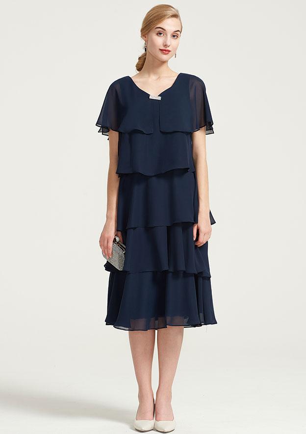 A-Line/Princess V Neck Short Sleeve Tea-Length Chiffon Mother Of The Bride Dress With Beading Ruffles