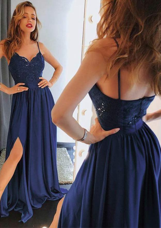 A-Line/Princess Sweetheart Sleeveless Long/Floor-Length Chiffon Prom Dress With Split Lace